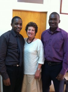 Dr. Eleanor Fish with Nicholas Kisilu and Emanuel Benge (two of the BSI leads at Moi School of Medicine)